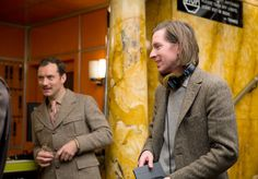 On set: Jude Law and Wes Anderson in The Grand Budapest Hotel