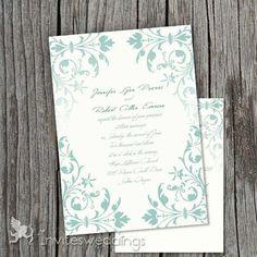 elegant winter mint green wedding invitations