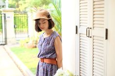 Lavender/Purple/blue/white/brown Spring Flowers Vintage 1980s Japanese Dress