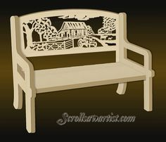 farm scien  Scroll Saw Patterns | Bench with fretwork backrest - Farm scene
