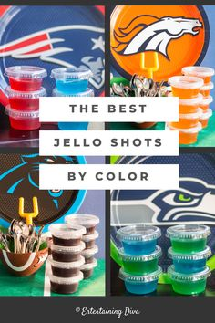I LOVE this list of the best jello shots by color! Lots of easy recipes that are made with vodka, tequila, rum or coconut rum. I really like the margarita one! Orange Jello Shots, White Jello, Fireball Jello Shots, Easy Jello Shots, Green Jello, Jello Shooters, Pink Jello Shot Recipe, Jello Shot Recipes, Alcohol Recipes