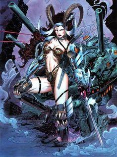 Cybernary by Jim Lee, Wildstorm Comics Dc Comics Art, Image Comics, Comics Girls, Marvel Comics, Comic Book Artists, Comic Artist, Comic Books Art, Heavy Metal Comic, Jim Lee Art