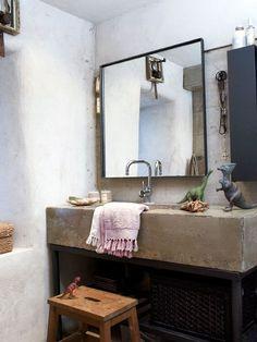 15 Bright and Classic Bohemian Bathroom Design Ideas : Simpple Bathroom Vanity By Bohemian Bad Inspiration, Bathroom Inspiration, Interior Inspiration, Concrete Sink, Concrete Bathroom, Bathroom Sinks, Stone Bathroom, Bohemian Bathroom, Modern Bathroom