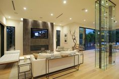 Modern Laurel Residence by Amit Apel Design Corner Bathtub, Flat Screen, Interior Design, Future House, Modern Houses, Trendy Tree, Blood Plasma, Nest Design, Corner Tub