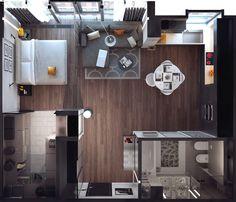 aménagement petit appart idée très originale mobilier design petit Yekaterina Volkova