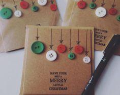 Botón tarjeta de Navidad adornos por CraftyWeeThingsShop en Etsy