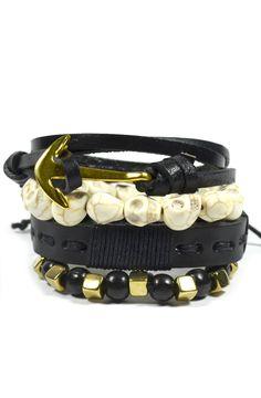 4 Pack Gold and Black Anchor Bracelet Set