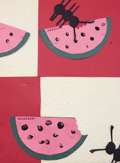 """Picnic"" : Finger Print Watermelons & Ants . Arts And Crafts The Go Along With The Bulletin Boards On My Other Board . These Crafts For Toddler And Preschoolers Will Be A Hit And Are Relatively Easy To Do ! :)"