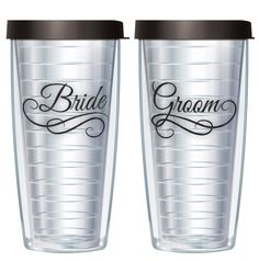 Amazon.com: Bride & Groom on Clear Set Of 2 Traveler 16 Oz Tumbler Cups with Black Lids: Kitchen & Dining