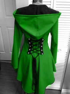 Not for the wedding....but....Green corset laced Raincoat red riding hood by FayeTalityCouture