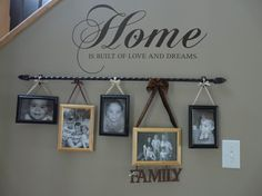 CUTE!!! Curtain Rod and some ribbon to hang the pics!!