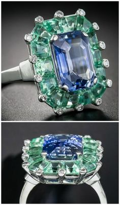 5e33a64e4 A magnificent Art Deco sapphire and green beryl cocktail ring at Lang  Antiques. Circa 1930's