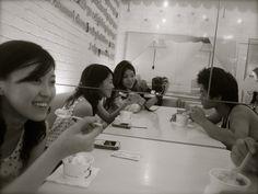 Having frozen yoghurt at Sour Sally   Paris Van Java, Bandung Indonesia