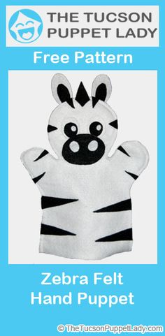 Cute zebra felt hand puppet pattern available for free.
