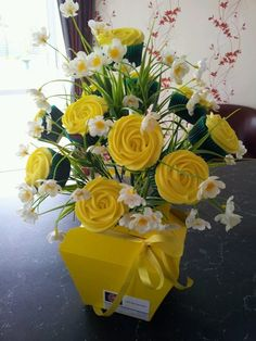 Yellow CupCake Bouquet  1 doz in each bouquet  Made by Little Miss CupCakes   From Hawera, New Zealand