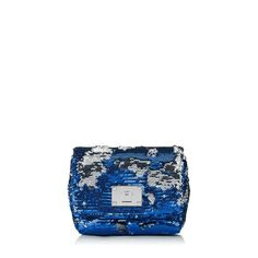 Jimmy Choo Ruby Aegean Double Faced Sequins Clutch Bag with Chain Shoulder Strap.