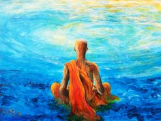 Painting of meditation, buddhist monk in a swirl of blue water. Buddhist Beliefs, Buddhist Monk, Spiritual Paintings, Nature Paintings, Personal Branding, Mindfulness For Kids, Past Relationships, Acrylic Canvas, Canvas Art
