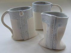 Mugs and milk jug - handmade porcelain, handmade ceramics, bespoke ceramics: Stef Storey, Ceramic Fabrics Porcelain Mugs, Ceramic Mugs, Stoneware, Slab Pottery, Pottery Art, Pottery Ideas, Cerámica Ideas, Handmade Pottery, Handmade Ceramic