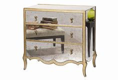 antiqued mirrored nightstand