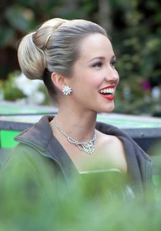 Anna Camp from Mad Men hair pulled back w/60's Bun