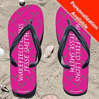 Lacrosse Stick Pattern Pink/Green Girls Flip Flops - Kick back after a lacrosse game with these great flip flops! Fun and functional flip flops for all lacrosse players and fans.
