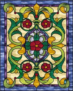 victorian stained glass windows | Victorian Rose Pedals Stained Glass Window Panel