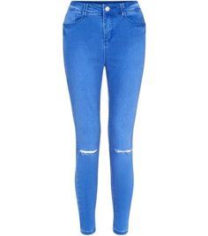Bright Blue Ripped Knee Ankle Grazer Skinny Jeans