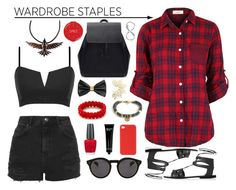 """""""Red & black"""" by leinijewelry ❤ liked on Polyvore featuring Mode, Topshop, Zara, OPI, Wild & Wolf, Bobbi Brown Cosmetics, Illesteva, H&M, Dsquared2 und Tattify"""