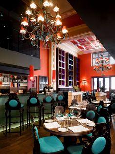 Buddha Bar Hotel Prague, Czech Republic. #bar #lightingdesign #light #design #chandelier #turquoise #prague
