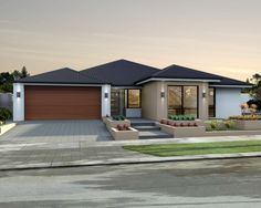 'The Solution' elevation. 17m frontage. Raised roof, contrast render, timber look-alike garage door.    View Floorplan on: http://www.pinterest.com/pin/575264552374223894/    #elevation #facade #house #home #smarthomesforliving
