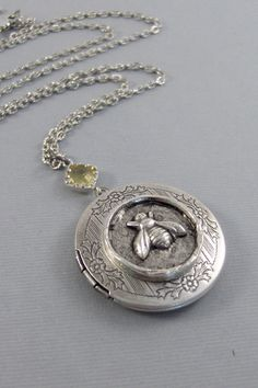 Autumn BeeBee NecklaceBee Locket Silver by ValleyGirlDesigns, $36.00
