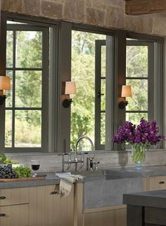 rustic charm in this gray/blue kitchen