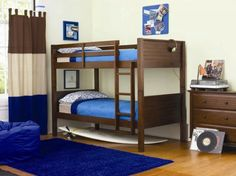 Kids Bedroom, Interior Design Ideas Of Boys Bedroom With Bunk Bed With Stair Soft Blue Beanbag Rug Surfboard Wardrobe Desk Lamp Curtain Float Glass Window Laminate Wood Floor: Bedroom design ideas for your kids