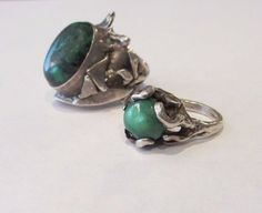 2 Vintage Sterling Silver Chrysoprase Lost Wax Casting Rings Wholesale Lot #Unbranded