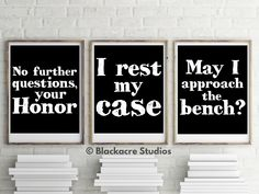 Courtroom Quotes Print Set - Gift Pack - Trial Lawyer Gifts - Trial Court - Law School Gifts - Court Reporter - Legal Quotes - Legal Scholar Law Office Decor, Gifts For Office, Office Art, Office Ideas, Standard Poster Size, Lawyer Gifts, School Gifts, Student Gifts, Law School