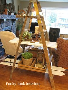 Ladder as a knick knack stand or shelf