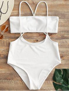 30a9bfc2811f0 Bandeau Top and High Waisted Slip Bikini Bottoms