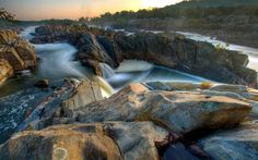 rough river, rocks, sunset, hdr