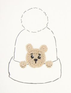 Teddy Bear Applique Crochet  Brown Bear Hat Applique by 2mice