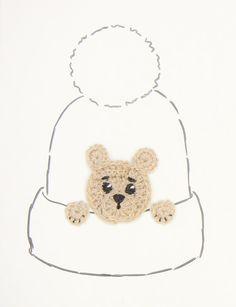 Teddy Bear Applique Crochet  Brown Bear Hat Applique by 2mice