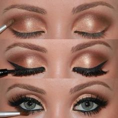 Follow the pic for more Golden eyelids makeup style for ladies