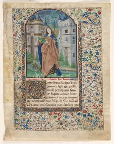 St. Barbara; Leaf from a Book of Hours (2 of 2 Excised Leaves), c. 1465 Master of Jacques de Luxembourg (French) ink, tempera and gold on vellum, Leaf: 23.70 x 18.60 cm