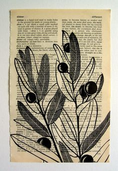 Berries - linocut print on dictionary page Etsy shop filled with block hand printed items.