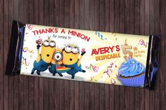 Despicable Me 4 Minion Birthday Party - Custom Birthday Party Thank You Candy Bar Wrapper DIY Printable