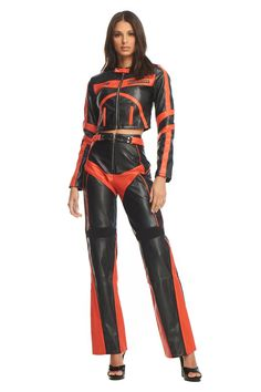 Black and orange moto jacket Detailed contrast panels Cropped length Centre zip up Bruna wears size XS Moto Pants, Moto Jacket, Badass Outfit, Stage Outfits, Orange Leather, Zip Ups, Leather Pants, How To Wear, Jackets