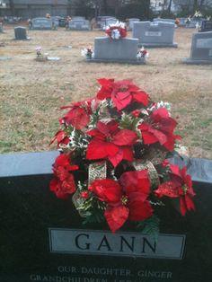 Christmas Poinsettia Cemetery Vase