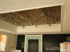 New Kitchen Lighting Planked Ceiling