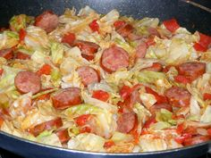 Southern Fried Cabbage & Sausage - This is my personal photo of a great recipe from The Southern Lady Cooks. Don't forget the cornbread! (click pic for her recipe)