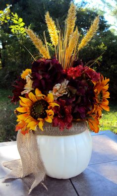 Cream White Pumpkin and Burlap Fall Centerpiece Table arrangement KreativelyKrafted