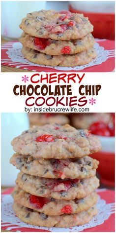 Oatmeal chocolate chip cookies get a fun twist when cherry pieces are added to them. from BruCrew Life Easy Cookie Recipes, Cookie Desserts, Sweet Recipes, Dessert Recipes, Cake Recipes, Chocolate Cherry Cookies, Chocolate Chip Oatmeal, Cherry Chip Cookies Recipe, Chocolate Desserts